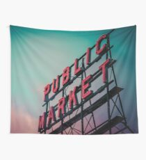 City Architecture Sign Seattle Pike Place Market at Dawn Pacific Northwest City Salmon Washington Travel Vintage Teal Blue Pink Green Wall Tapestry
