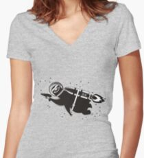 Outer space sloth rocket ray gun Women's Fitted V-Neck T-Shirt