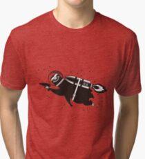 Outer space sloth rocket ray gun Tri-blend T-Shirt