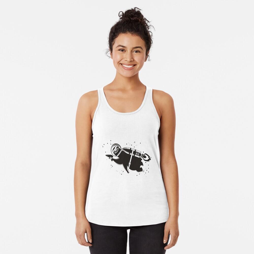 Outer space sloth rocket ray gun Racerback Tank Top