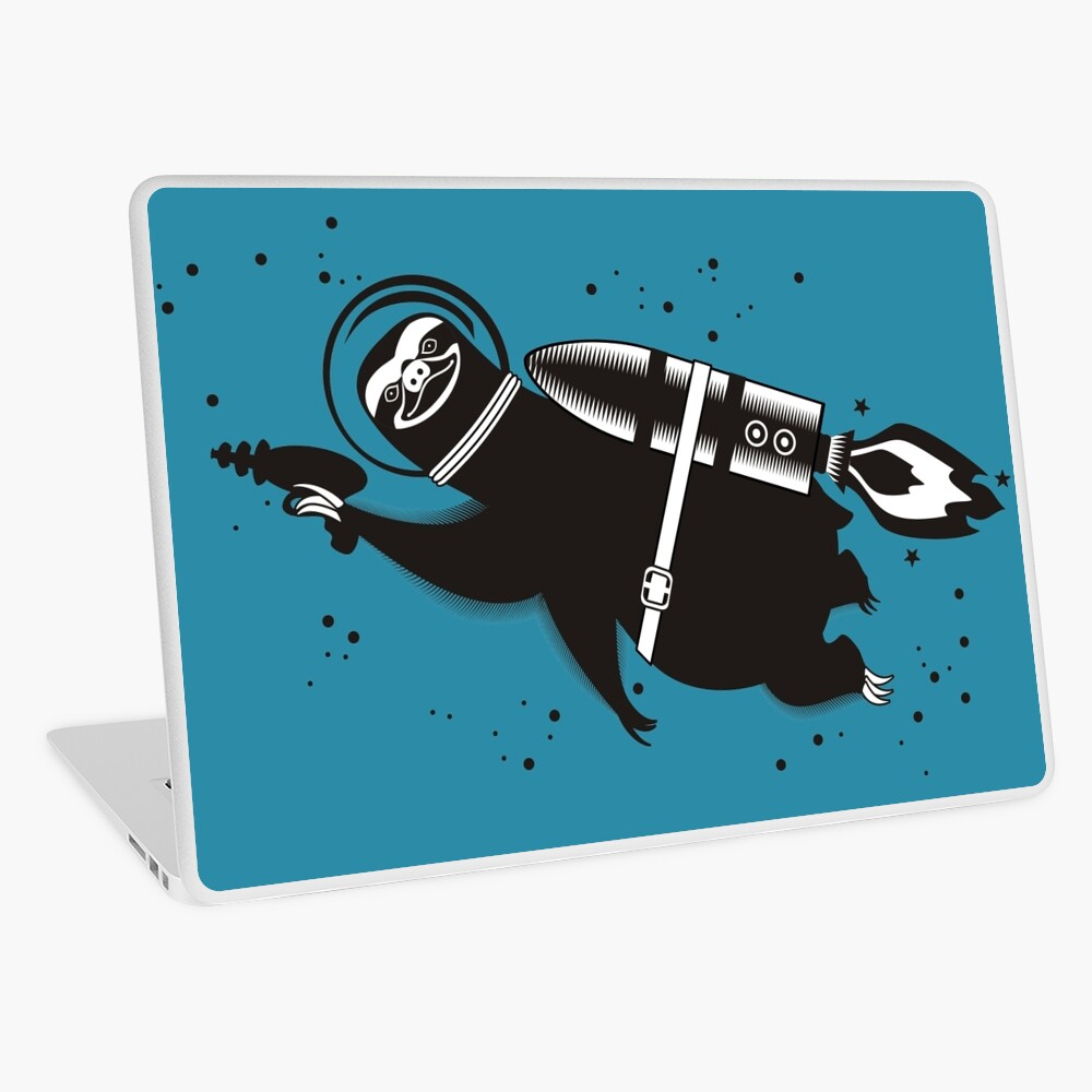 Outer space sloth rocket ray gun Laptop Skin