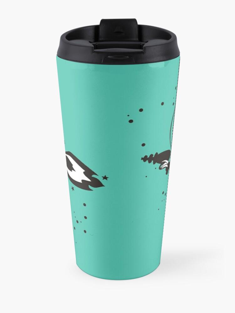 Alternate view of Outer space sloth rocket ray gun Travel Mug