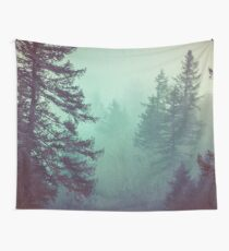Forest Fog - Green Trees Vintage Pacific Northwest Wall Tapestry Hazy Misty Travel Foggy Trees Forest Forests Mountain Mountains Wall Tapestry