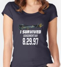 I Survived Judgement Day Terminator white Women's Fitted Scoop T-Shirt