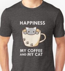 Happiness My Coffee & My Cat Cute Kitty Lover Paws Unisex T-Shirt