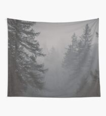 Forest Fog - Black and White Trees on a Mountain Foggy Trees Mountains Forest Pacific Northwest Wall Tapestry Wall Tapestry