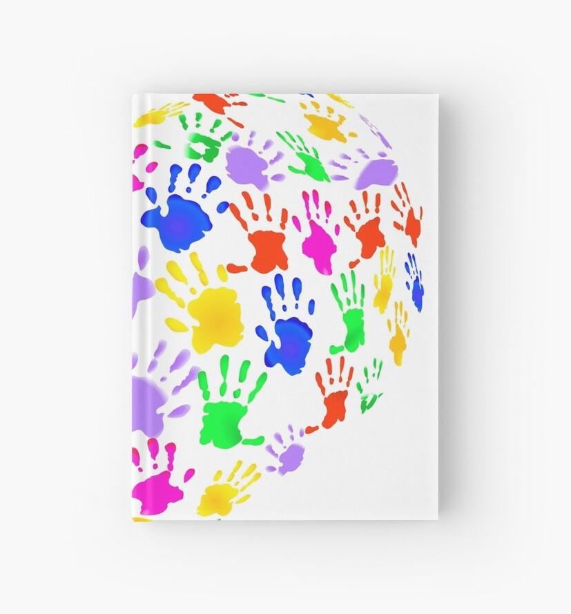 Cuadernos de tapa dura «Los niños imprimen a mano en forma de ...