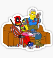 Merc and Soldier on Couch V2 Sticker