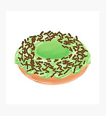 Matcha Cream Donut with Chocolate Sprinkles Photographic Print
