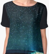 Stars and Space Night Sky - Teal Starry Galaxy Wall Tapestry Chiffon Top