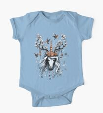 Deer Unicorn Flowers One Piece - Short Sleeve