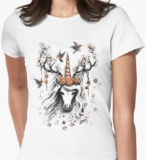 Deer Unicorn Flowers Womens Fitted T-Shirt