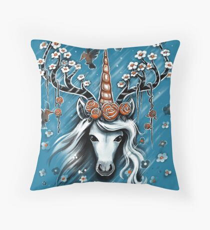 Deer Unicorn Flowers Throw Pillow