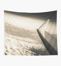 Airplane Clouds and Sky - Black and White Wanderlust Vintage Sky and Plane Wall Tapestry