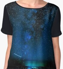Stars and Space Night Sky - Blue Starry Milky Way in Arizona Chiffon Top