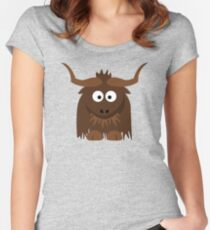 Funny Cute Cartoon Buffalo Character Animal - T Shirts And Gifts Design Women's Fitted Scoop T-Shirt