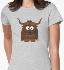 Funny Cute Cartoon Buffalo Character Animal - T Shirts And Gifts Design Womens Fitted T-Shirt
