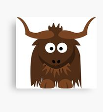 Funny Cute Cartoon Buffalo Character Animal - T Shirts And Gifts Design Canvas Print
