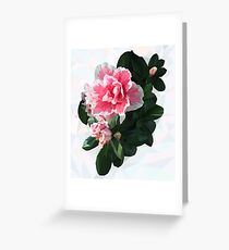 Azalea. Polygonal pink flower with green leaves. Greeting Card