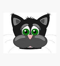 Cool Funny Cartoon Cat - Silly Black Kitten With Green Eyes T Shirts And Gifts Photographic Print