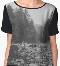 Mountain Forest Lake Water - Black and White Vintage Trees and Sky Chiffon Top