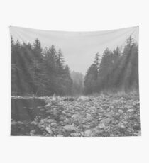 Mountain Forest Lake Water - Black and White Vintage Trees and Sky Wall Tapestry