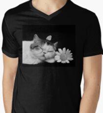 Cutie Cat's Sweet Dream, pet, black white Men's V-Neck T-Shirt