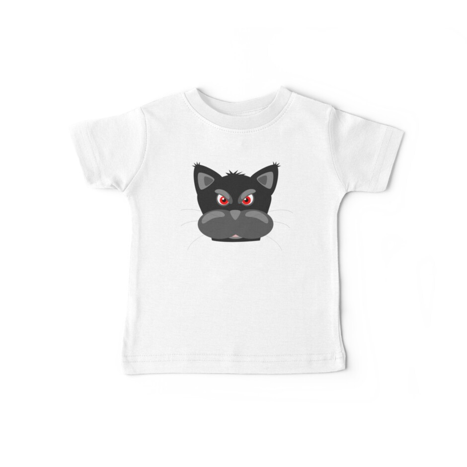 Cool Angry Crazy Mad Red Eyes Cat Cartoon Drawing T Shirts And Gifts by Sago-Design