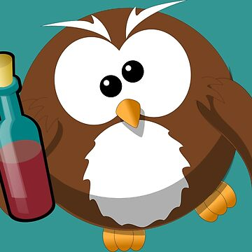Drunk Cartoon Owl With Wine Bottle - Funny Beer Drinking Lover Problem T Shirts And Gifts by Sago-Design