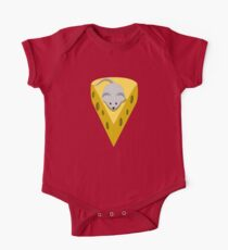 Cute Funny Little Gray Cartoon Mouse On The Top Of The Yellow Cheese  One Piece - Short Sleeve