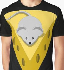Cute Funny Little Gray Cartoon Mouse On The Top Of The Yellow Cheese  Graphic T-Shirt