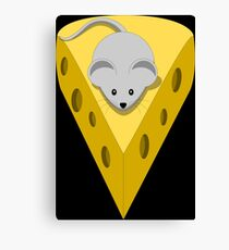 Cute Funny Little Gray Cartoon Mouse On The Top Of The Yellow Cheese  Canvas Print