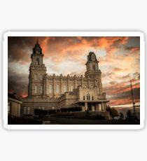 Manti LDS Temple Sky on Fire Sticker