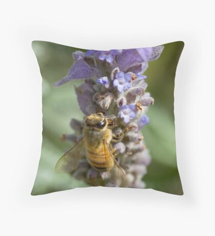 Lavender Bee Throw Pillow