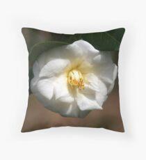 White Camellia III Throw Pillow