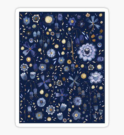 Indigo Flower Midnight Sticker