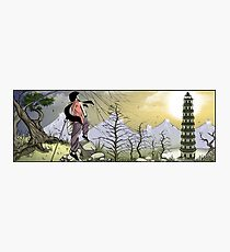 Sunrise at the watchtower, kung fu girl adventure Photographic Print