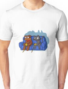 cat and dog playing videogame at home Unisex T-Shirt