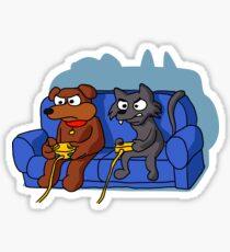 cat and dog playing videogame at home Sticker
