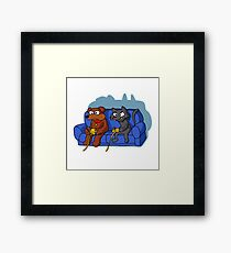 cat and dog playing videogame at home Framed Print
