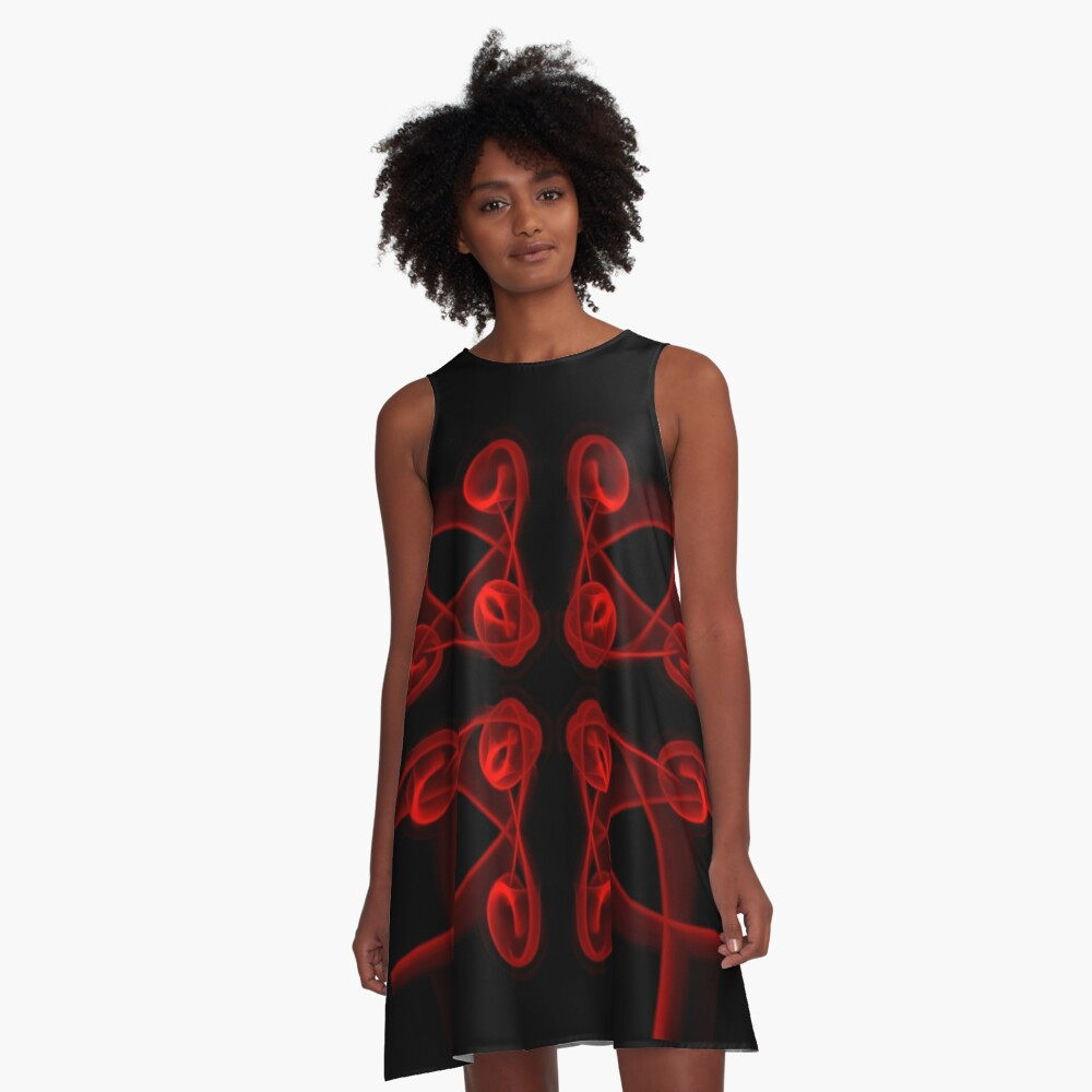Red Roses A-Line Dress Front