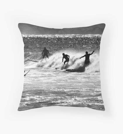 Surfing Silhouette Throw Pillow