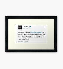 Justin Bieber Tweet #1 Framed Print