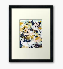 Sloane - Abstract painting in free style navy, mint, gold, white, and turquoise  Framed Print
