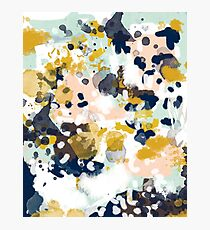 Sloane - Abstract painting in free style navy, mint, gold, white, and turquoise  Photographic Print
