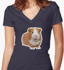 red guinea pig Women's Fitted V-Neck T-Shirt