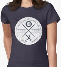 Funny sewing seamstress French danger scissors Womens Fitted T-Shirt