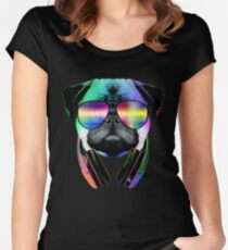 Music Love Pug Women's Fitted Scoop T-Shirt