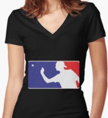 Major League Beer Pong  Women's Fitted V-Neck T-Shirt