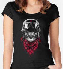 Abenteurer Katze Tailliertes Rundhals-Shirt